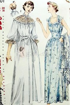 1950 Beautiful Nightgown and Negligee Robe Pattern Pin Up Sweetheart Neckline Fitted Midriff Gown, Romantic Boudoir House Coat Wedding Trousseau Styles Simplicity 3401 Vintage Sewing Pattern Factory Folded Bust 38