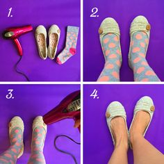 How to break in a pair of new flats: Put on a thick pair of socks, slip your feet into your new shoes, and aim a blow dryer on high heat at the snug parts. Keep the flats on while they cool, and voila! #DIY
