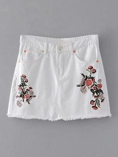 Flower Embroidery Raw Hem Denim Skirt