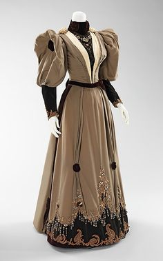 embroidered and beaded taupe silk evening dress,1893.