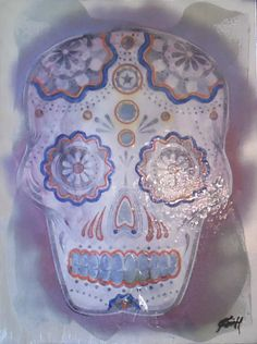 """Sugar Skull - Blue with Mauve with Silver   Original Monochromatic Study   Mixed Media, Distressed Paper, Lacquer on Canvas   18"""" x 24"""""""