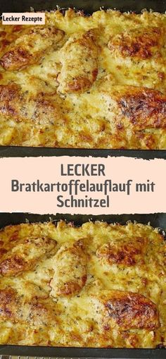 Delicious fried potato casserole with schnitzel – recipes - Fleisch Schnitzel Recipes, Natural Yogurt, Cheese Muffins, Gluten Free Muffins, Potato Casserole, Ham And Cheese, Eating Plans, Food Design, Eating Habits