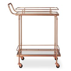 Metal, Wood, and Leather Bar Cart - Rose Gold - Threshold