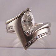 Marquise Cut Diamond Engagement Ring With Shaped Ed Wedding Band