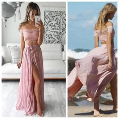 Two Pieces Prom Dress,Off Shoulder Prom Dress,Side Silt Prom Dress,Sexy Prom…
