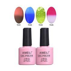 AIMEILI Soak Off UV LED Gel Nail Polish Multicolor / Mix Color / Combo Color Set Of 4pcs X 10ml - Kit Set 15 *** Want additional info? Click on the image.