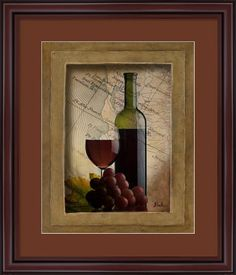 Red Grapes Wine Glass And Bottle Kitchen Tuscan Contemporary Home Decor Wall Picture Art Print - - Product Description: This Red Wine Bottle Grapes Kitchen Tuscan