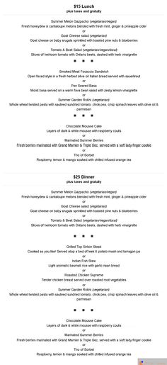 Luci Restaurant Menu - Dinner food menu Pinterest Menu