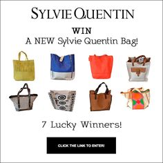 Summertime Happiness! If you love bags, this is for you! We have seven fab Sinequanone bags to give away. For your chance to win go to our website. Good luck!