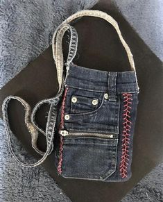 Denim Crossbody Bag/Purse, Cell Phone Pouch - Recycled Jeans,