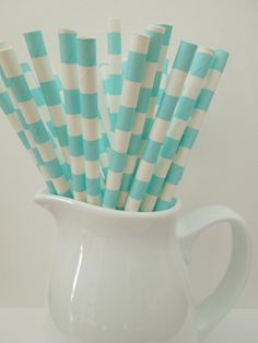 25 Light Blue Circles / Stripes Drinking Paper Straws, Mason Jar Straws, Party Straws Shower Wedding, Birthday Picnic Straws-Fast Shipping  $2.99