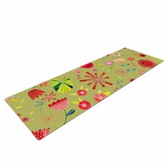 "Nic Squirrell ""Wild Meadow"" Olive,Pink,Floral,Digital,Illistration,Red Yoga Mat"