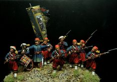 The charge of the 5th New York Volunteers infantry at Big Bethel 1861.Perry plastic mins Painted by Francesco Thau