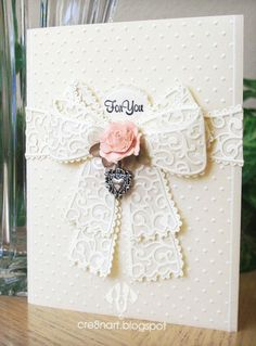 Ivory vellum card, made by with Tattered Lace's Chantilly Bow die, as well Spellbinders 'Lacey Ovals', and Cuttlebug's 'Swiss Dots. Wedding Anniversary Cards, Wedding Cards, Tattered Lace Cards, Embossed Cards, Heartfelt Creations, Scrapbook Cards, Homemade Cards, Stampin Up Cards, Making Ideas