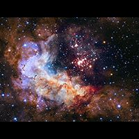 An image from the Hubble Space Telescope of Westerlund a star cluster. Space photography has also impacted space artists. (Photo: NASA, ESA, the Hubble Heritage Team (STScI/AURA), A. Nota (ESA/STScI), and the Westerlund 2 Science Team) Hubble Pictures, Hubble Images, Hubble Photos, Galaxy Images, Astronomy Pictures, Cosmos, Space Photos, Space Images, Nasa Space Pictures