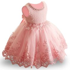 2018 New Lace Baby Girl Dress 1 Years Baby Girls Birthday Dresses Vestido birthday party princess dress White Baptism Dress, Girls Baptism Dress, Baby Girl Birthday Dress, Baby Girl Christening, Girls Party Dress, Birthday Dresses, Baby Girl Dresses, Girl Outfits, Flower Girl Dresses