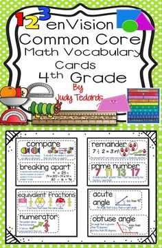I have included in this package all the 4th grade math vocabulary cards for…