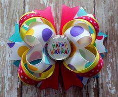 HAPPY BIRTHDAY Big hair bow headband bottle by CicisBowBoutique
