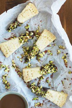 Shortbread with dark chocolate ganache, pistachios & red sea salt | Set the Table