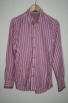 Ted Baker Fashion Designer Men's Shirt Size M Striped Pink Cotton Thick Buttons