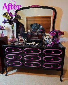 Hexotica: DIY: My Pop-Gothic Glossy Black and Violet Re-Vamped Dresser