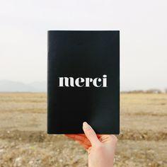 Double sided B&W Line Note - merci  by Dear Maison www.dearmaison.com  #stationery #dearmaison #b&w #merci #simple #papergoods #notebook #design