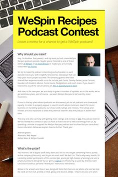 Help spread the word about WeSpin Recipes Podcast Contest!