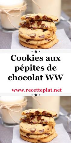 WW Chocolate Chip Cookies - Don& be afraid to grab a handful of these delicious cookies. Ww Recipes, Low Carb Recipes, Snack Recipes, Breakfast Recipes, Snacks, Weight Watchers Breakfast, Weight Watchers Meals, Chocolate Chip Cookies, Healthy Breakfast Wraps