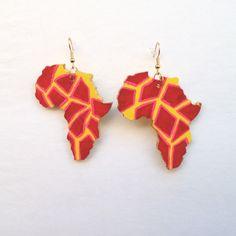 Giraffe Print Africa Earrings Large Africa Earrings by Triburban, $15.00