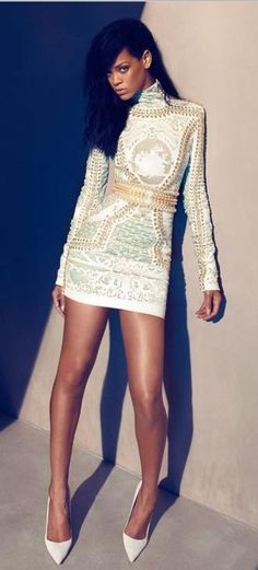 Manolo Blahnik | I must say I have probably never seen a Balmain dress and pointed toe Manolo's look so good.
