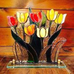 Stained glass of tulip fields   Figurines   syndicat verrier   Handmade mail order / sale Creema