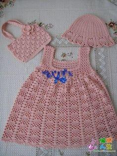 Baby dress hat and purse pink crochet Crochet Dress Girl, Baby Girl Crochet, Crochet Baby Clothes, Crochet Toddler, Crochet For Kids, Knit Crochet, Crochet Hats, Crochet Summer, Crochet Children