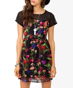 Tropical Floral Dress, pair it with a pair of black lace up boots and hallelujah        Tropical Floral Dress  CAD $23.80