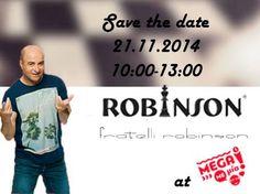 Το ραντεβού σας με τη μόδα είναι γεγονός ! Παρασκευή 21 Νοεμβρίου σας παρουσιάζουμε τις νέες δημιουργίες μας για το χειμώνα 2014/15, live από την εκπομπή του Μάρκου Σεφερλή, Mega με μια ! Απολαύστε την ανδρική συλλογή Robinson Shoes πιο πλούσια από ποτέ !! Καθώς και προτάσεις σε αρβιλάκια & μπότες που θα απογειώσουν το στύλ και την θυληκότητα της γυναίκας στο λεπτό από την Fratelli Robinson. Stay tuned, the show begins at 10:00 !!
