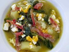 Esta sencilla sopa cuyo ingrediente principal es la acelga es ideal para dietas ya que aparte de todas las cualidades que tienen las ac... Fodmap, Malaga, Chipotle, Palak Paneer, Stew, Great Recipes, Tapas, Cabbage, Gluten Free