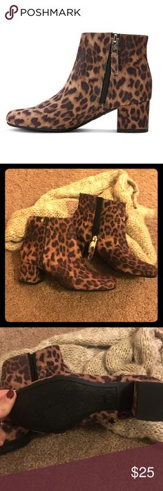 *New* Sam & Libby Faux Cheetah Print Booties These are adorable and would be so cute with a long top and tights or jeans! New/never used and the perfect addition to every girls closet ♥️ Sam & Libby Shoes Ankle Boots & Booties
