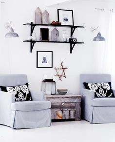 Gezellig zitje in zwart/wit/grijs/hout.