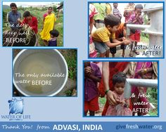 They used to draw water from a deep, deep well.  Now the villagers of Advasi, India have fresh, flowing water from their own pump in the village!  Thank you for giving fresh water to those in such desperate need.  To learn more about Water of Life's work & ministry:  www.givefreshwater.org