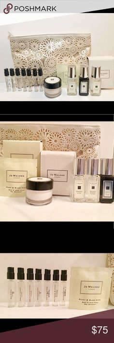 Jo Malone Travel Size Cologne Samples Cos Bag NEW Leather case with travel size English Pear & Tuberose Angelica Colognes Travel size Nectarine Blossom & Honey Cologne Travel size Orange Blossom Body Creme Peony & Blush Suede - Body & hand wash sample Plus the following cologne samples~ Peony & Blush Basil & Neroli Nectarine Blossom & Honey Wood Sage & Sea Salt English Pear & Freesia Blackberry & Bay Mimosa & Cardamom Gold & creme Sephora makeup bag  Comes from a pet/ smoke free home Jo…