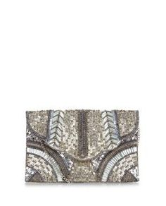 Silver Sequin Embellished Clutch  | New Look
