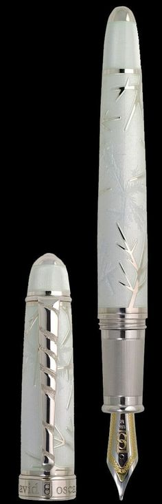 A pen of quality, craftsmanship and beauty! Winter, by David Oscarson Fancy Pens, Luxury Pens, Pen Collection, Winter Collection, Vintage Pens, Best Pens, Writing Pens, Dip Pen, Fountain Pen Ink
