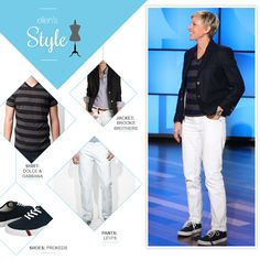 Ellen's Look of the Day: blazer, striped t shirt, white jeans, Prokeds