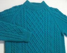 Warm and cozy! Women's Fisherman Knit Sweater. Very thick and heavy sweater knit by Korean women who were taught to knit by Irish nuns!