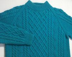 Fisherman Sweater Very Heavy Thick Wool Blue Hallim Handweavers Crewneck