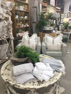 Slipcovered upholstered chairs & handmade pillows