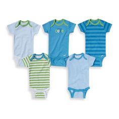 product image for Gerber ONESIES® Brand 5-Pack Cute/Stripes Short Sleeve Bodysuits in Blue/Green
