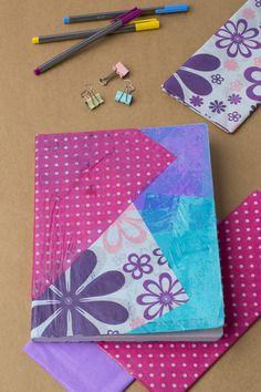 Ésta es una maravillosa idea para forrar cuadernos para tener un regreso a clases de 10, sólo tienes que seguir estos sencillos pasos que harán que los cuadernos se vean así de bonitos.