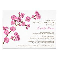 20 best cherry blossom baby shower invitations images on pinterest 5 x 7 cherry blossom baby shower invite filmwisefo