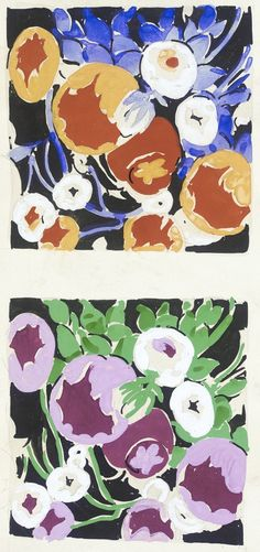 Untitled textile design of flowers | Elza Sunderland (Hungary, active United States, 1903-1991) | Tempera on paper | USA, 1940's | Los Angeles County Museum of Art, LACMA