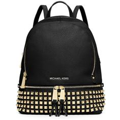 MICHAEL MICHAEL KORS Small Studded Leather Backpack found on Polyvore featuring bags, backpacks, backpack, bolsos, purses, apparel & accessories, real leather backpack, genuine leather backpack, leather rucksack and leather tablet bag